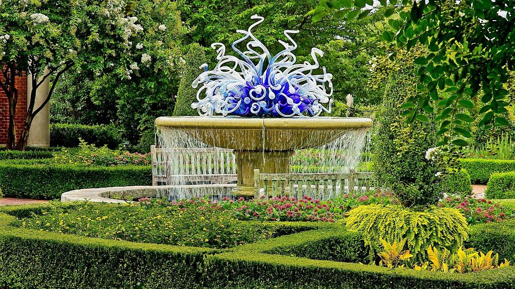 Blue glass Chihuly fountain at Atlanta Botanical Garden