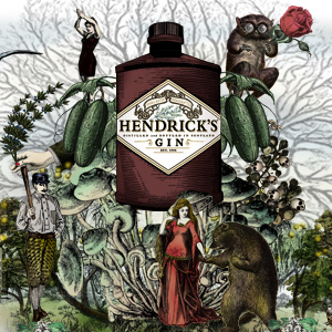 Illustration of bottle of Hendrick's Gin, a small-batch Scottish gin made with botanical extracts