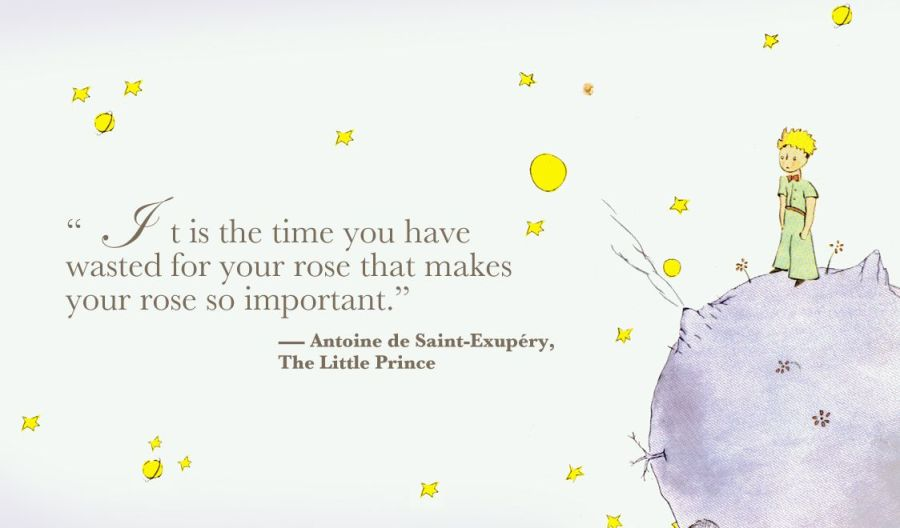 Illustration and quotation from Le Petit Prince, by Antoine de Saint-Exupery
